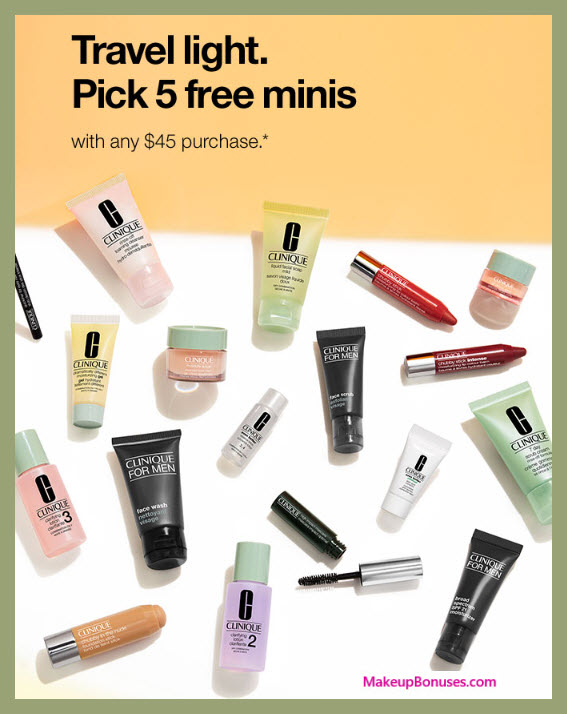 Receive your choice of 5-pc gift with $45 Clinique purchase