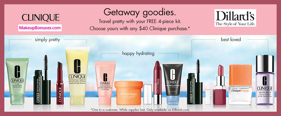 Receive your choice of 4-pc gift with $40 Clinique purchase