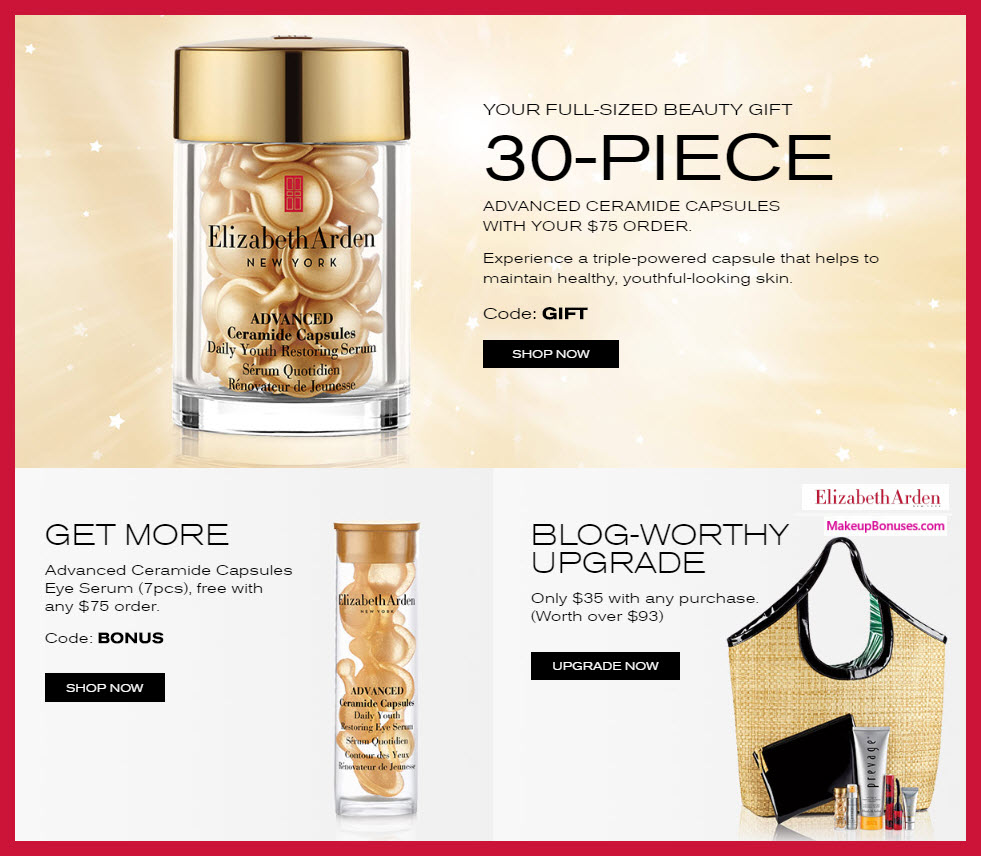 Receive a free 30-pc gift with $75 Elizabeth Arden purchase