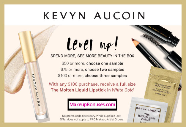 Receive a free 4-pc gift with $100 Kevyn Aucoin purchase