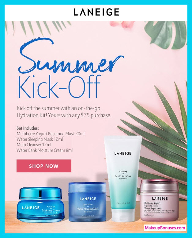 Receive a free 4-pc gift with $75 LANEIGE purchase