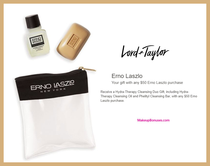 Receive a free 3-pc gift with $50 Erno Laszlo purchase