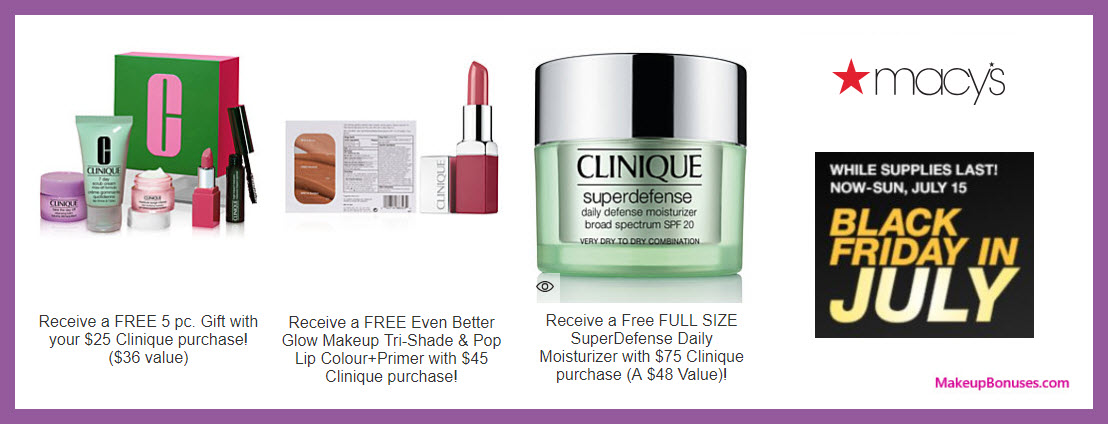 Receive a free 5-pc gift with $25 Clinique purchase