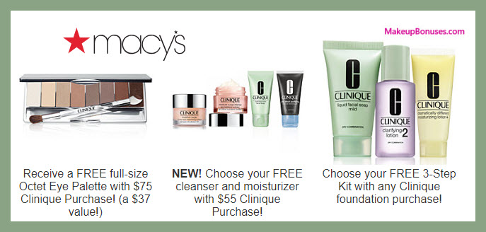Receive a free 3-pc gift with $75 Clinique purchase