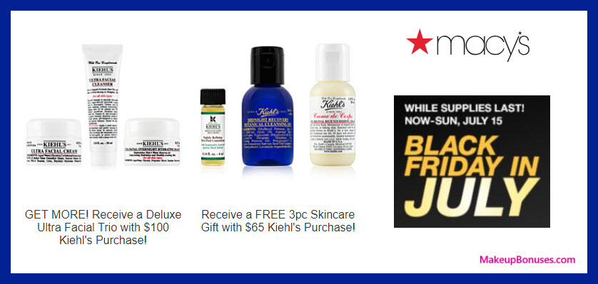 Receive a free 3-pc gift with $65 Kiehl's purchase