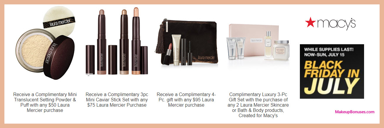 Receive a free 4-pc gift with $75 Laura Mercier purchase