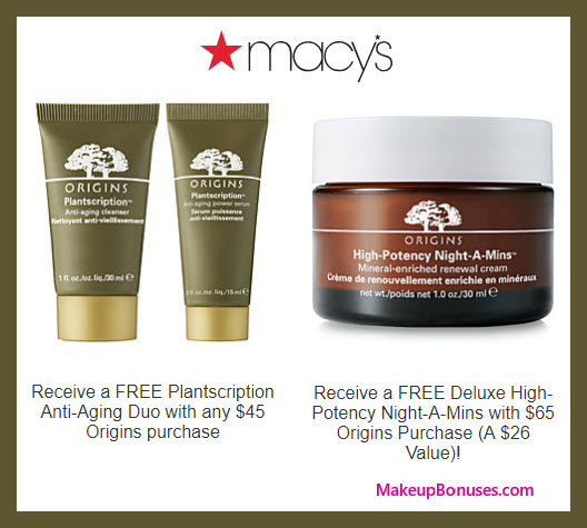 Receive a free 3-pc gift with $65 Origins purchase
