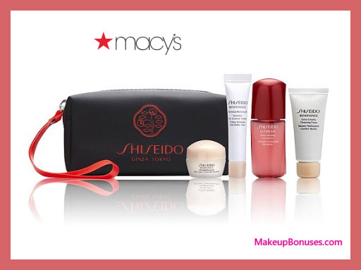 Receive a free 5-pc gift with $100 Shiseido purchase