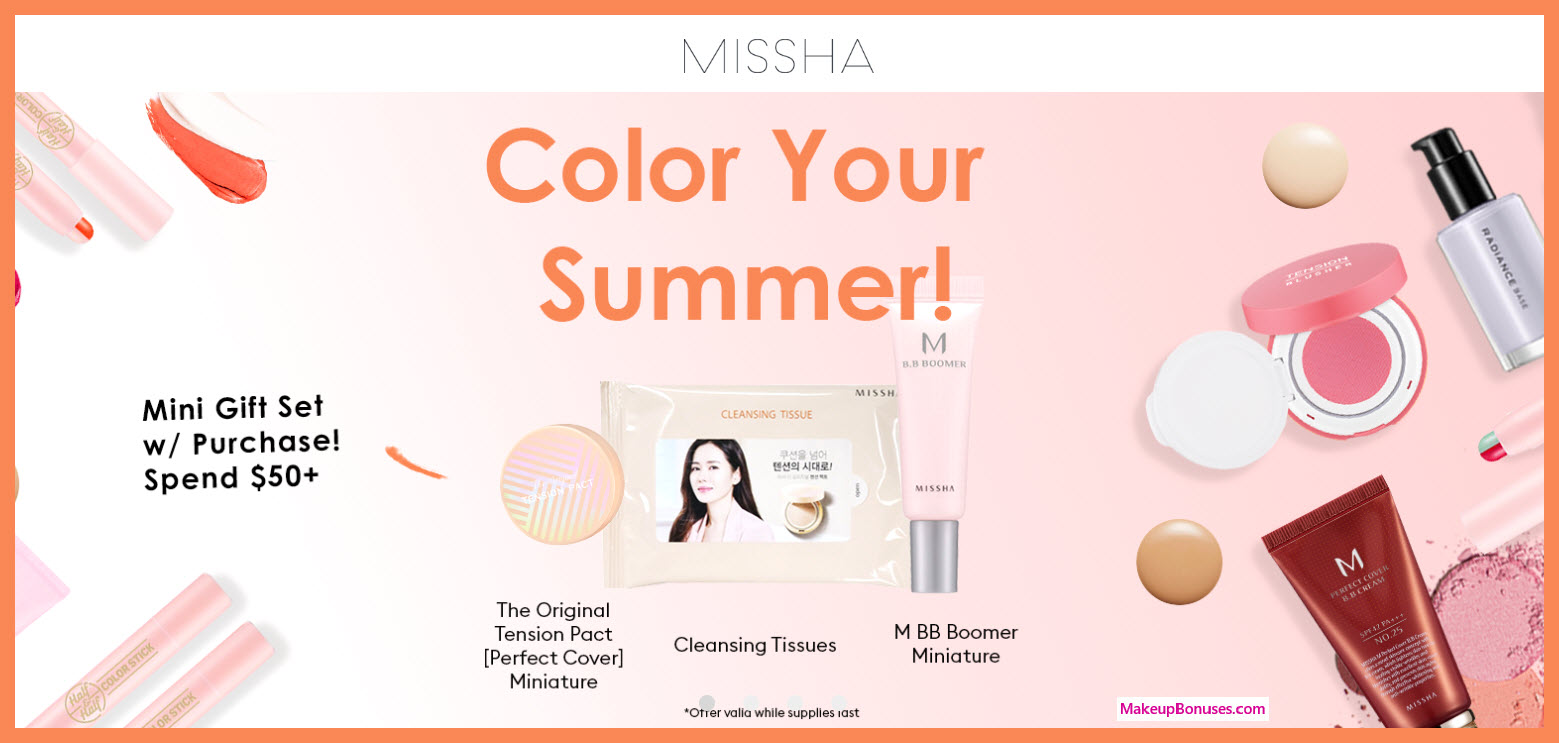 Receive a free 3-pc gift with $50 Missha purchase