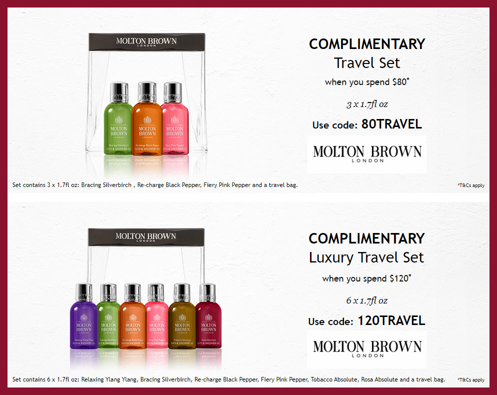 Receive a free 3-pc gift with $80 Molton Brown purchase