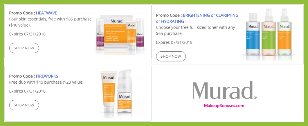 Receive a free 4-pc gift with $85 Murad purchase