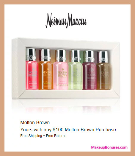 Receive a free 6-pc gift with $100 Molton Brown purchase