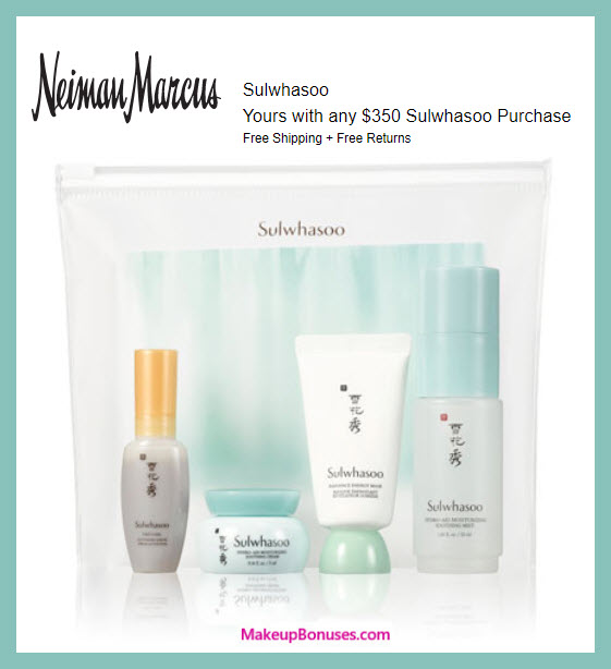 Receive a free 4-pc gift with $350 Sulwhasoo purchase