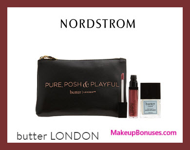 Receive a free 3-pc gift with $45 Butter London purchase