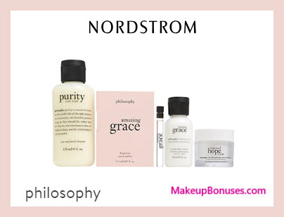 Receive a free 4-pc gift with $50 Philosophy purchase