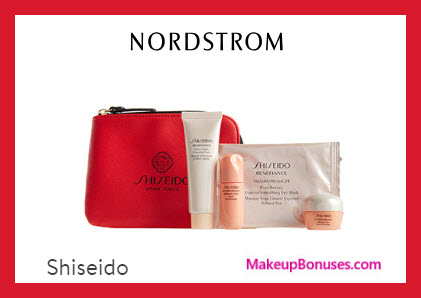 Receive a free 5-pc gift with $75 Shiseido purchase