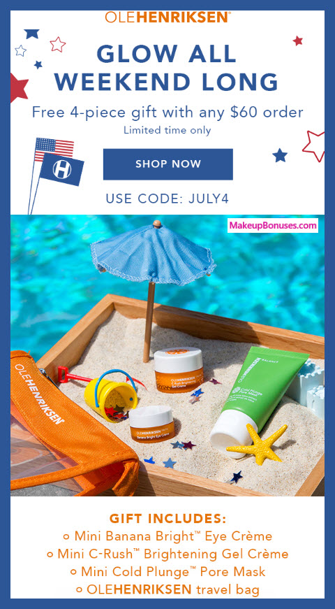 Receive a free 4-pc gift with $60 OLE HENRIKSEN purchase