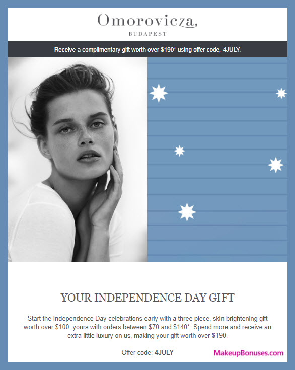 Receive a free 3-pc gift with $70 Omorovicza purchase