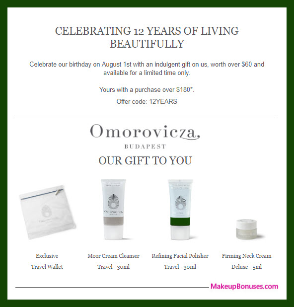 Receive a free 4-pc gift with $180 Omorovicza purchase
