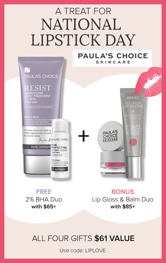 Receive a free 4-pc gift with $85 PAULA'S CHOICE purchase