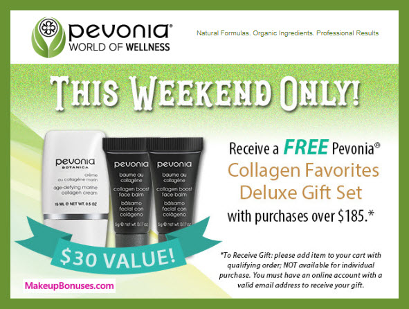 Receive a free 3-pc gift with $185 Pevonia purchase