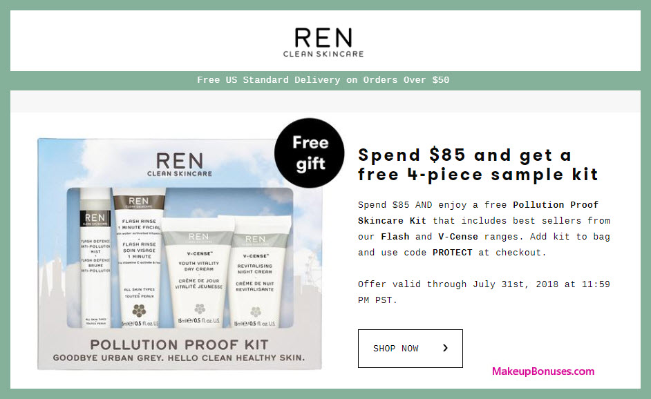 Receive a free 4-pc gift with $85 REN Skincare purchase