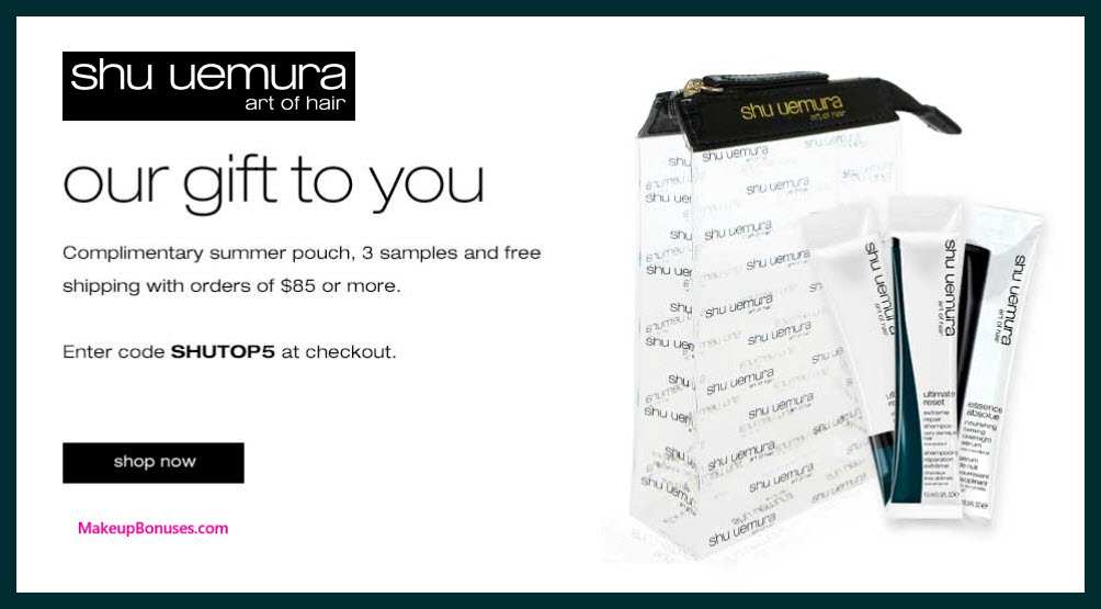 Receive a free 4-pc gift with $85 Shu Uemura Art of Hair purchase