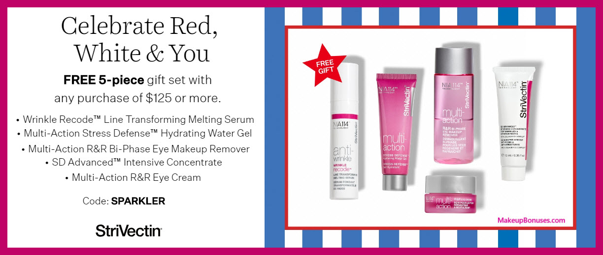 Receive a free 5-pc gift with $125 StriVectin purchase