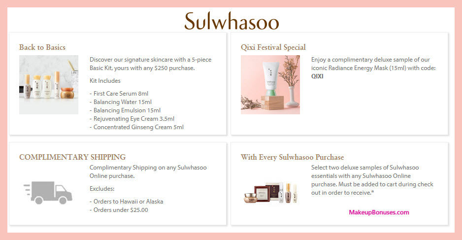 Receive a free 6-pc gift with $250 Sulwhasoo purchase