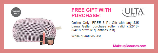 Receive a free 4-pc gift with $35 Laura Geller purchase