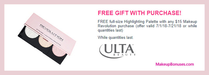 Receive a free 3-pc gift with $15 Makeup Revolution purchase