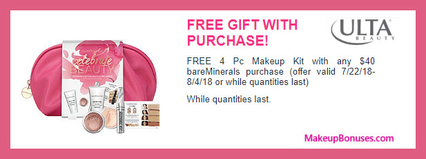 Receive a free 4-pc gift with $40 bareMinerals purchase