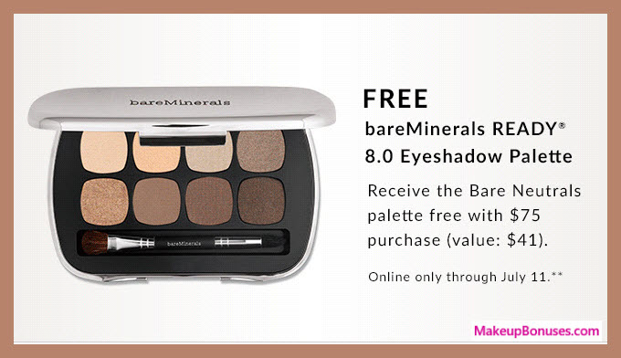 Receive a free 8-pc gift with $75 bareMinerals purchase