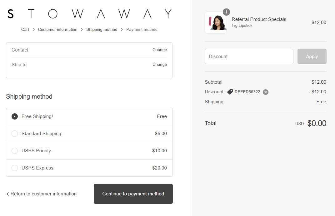Screenshot of checkout page with Free Shipping