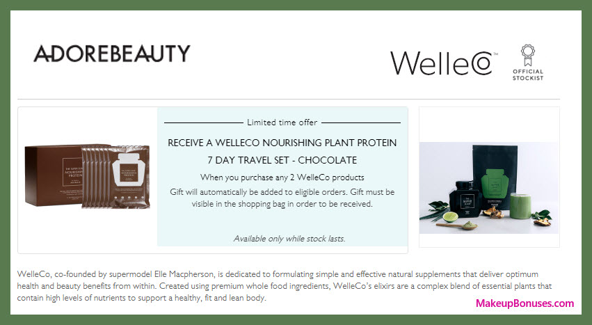 Receive a free 7-pc gift with 2+ WelleCo products purchase