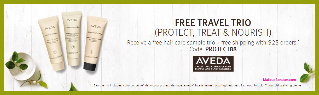 Receive a free 3-pc gift with $25 Aveda purchase