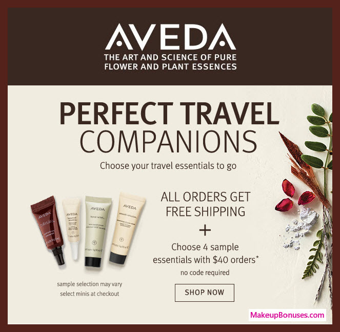 Receive your choice of 4-pc gift with $40 Aveda purchase