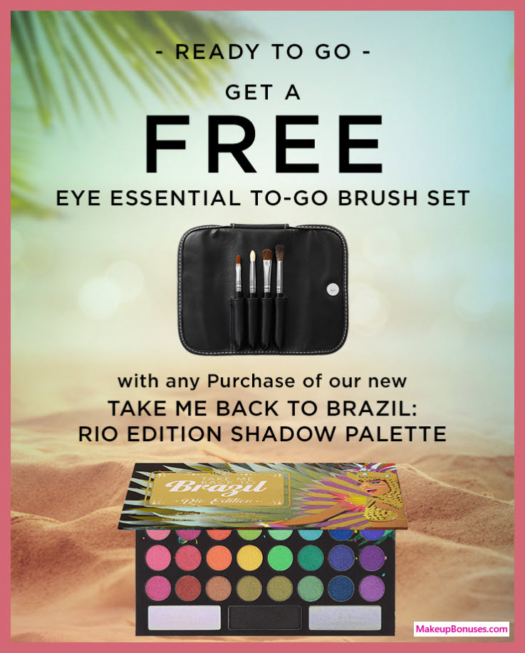Receive a free 5-pc gift with Take Me Back to Brazil: Rio Edition Palette ($18) purchase