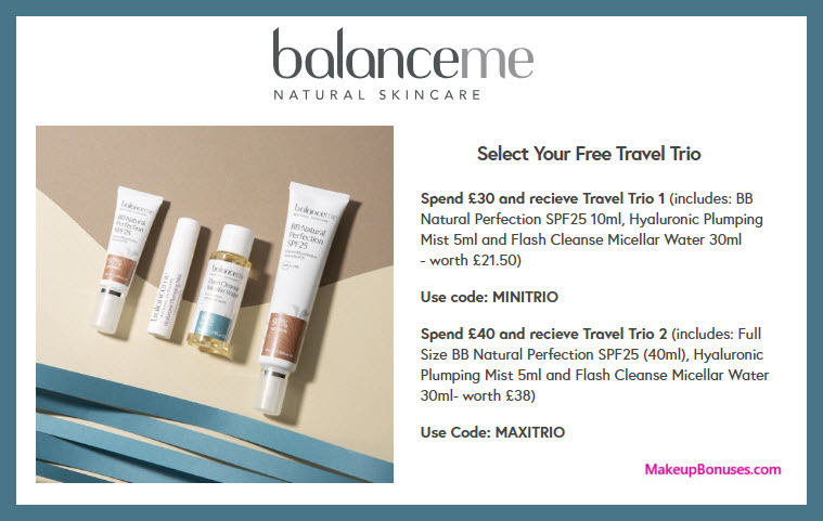 Receive a free 3- pc gift with $39 Balance Me purchase