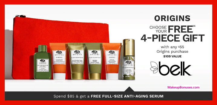 Receive your choice of 4-pc gift with $55 Origins purchase