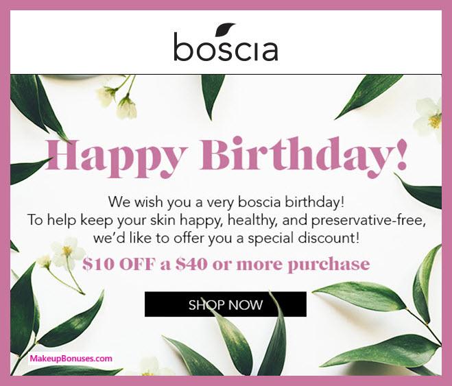 Boscia Birthday Gift - MakeupBonuses.com #bosciaskincare