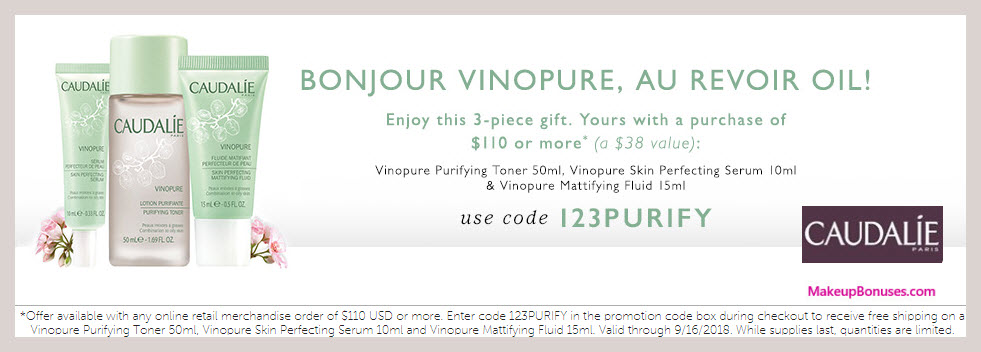 Receive a free 3-pc gift with $110 Caudalie purchase