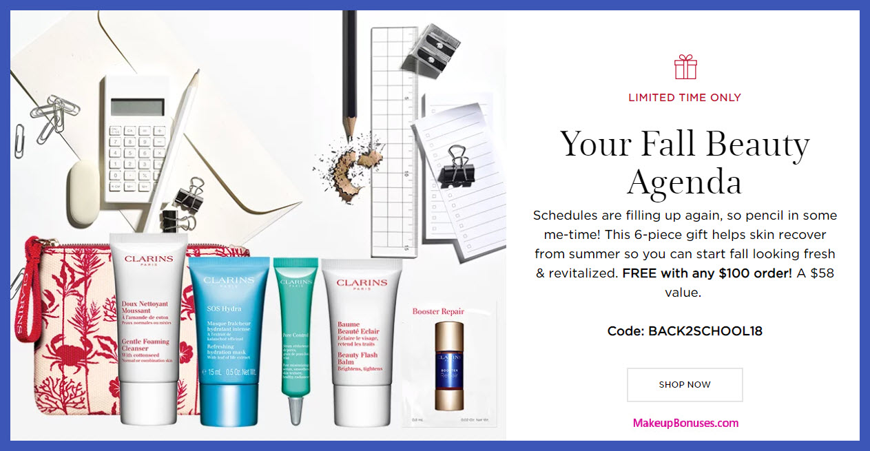 Receive a free 6-pc gift with $100 Clarins purchase