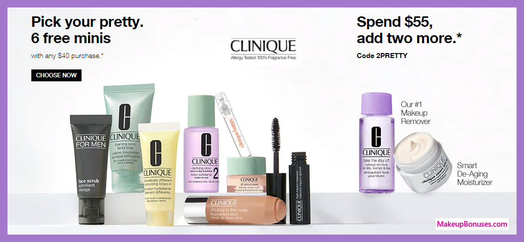 Receive your choice of 6-pc gift with $40 Clinique purchase