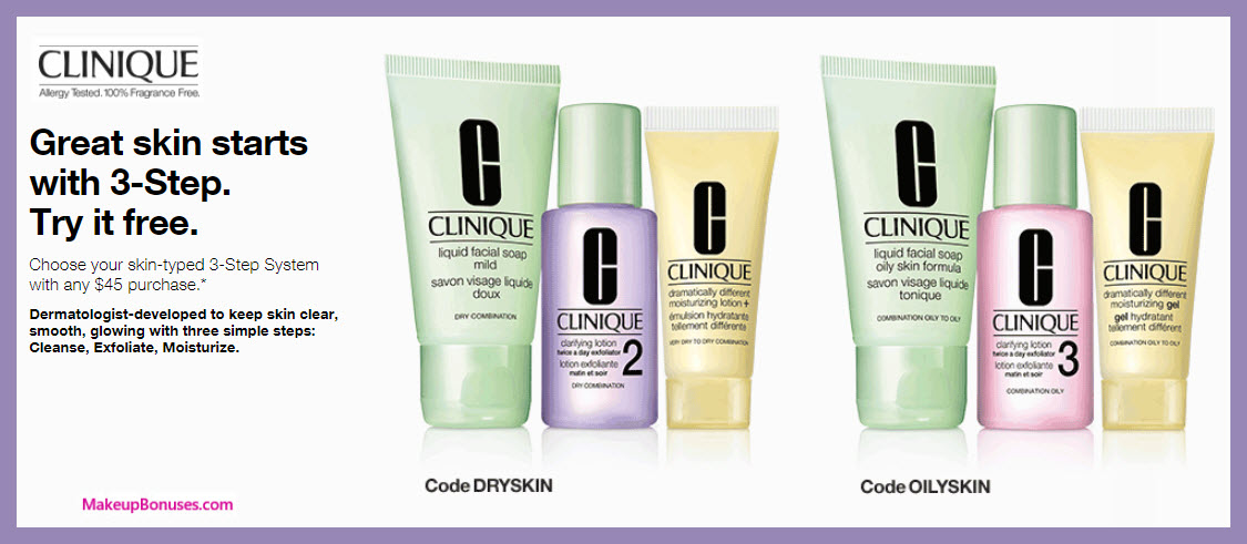 Receive a free 3- pc gift with $45 Clinique purchase