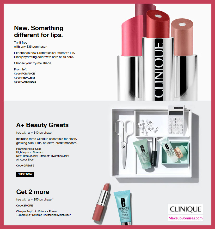 Receive a free 7-pc gift with $55 Clinique purchase