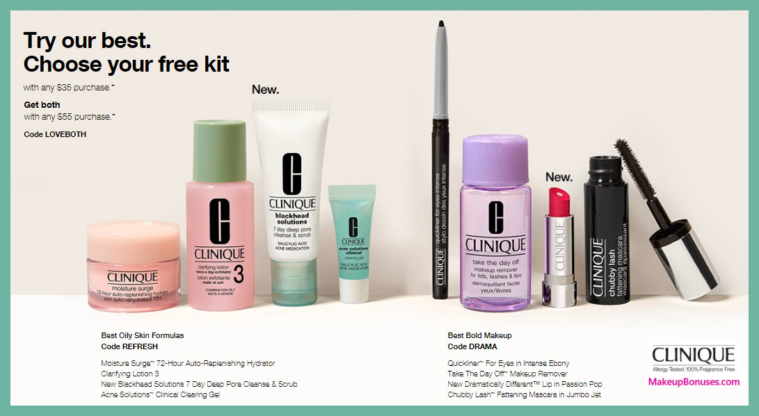 Receive your choice of 4-pc gift with $35 Clinique purchase