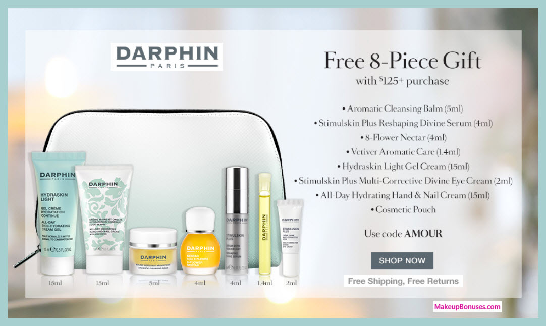 Receive a free 8-pc gift with $125 Darphin purchase