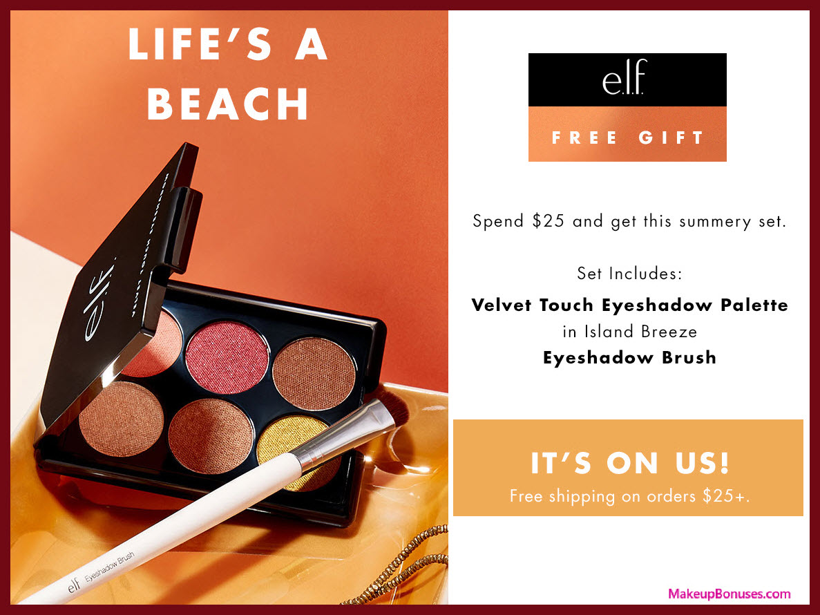 Receive a free 7-pc gift with $25 ELF Cosmetics purchase