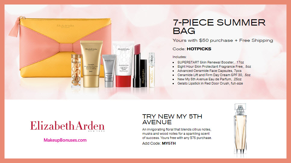Receive a free 8-pc gift with $75 Elizabeth Arden purchase